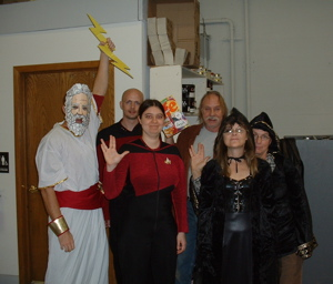 The crew at work on Halloween