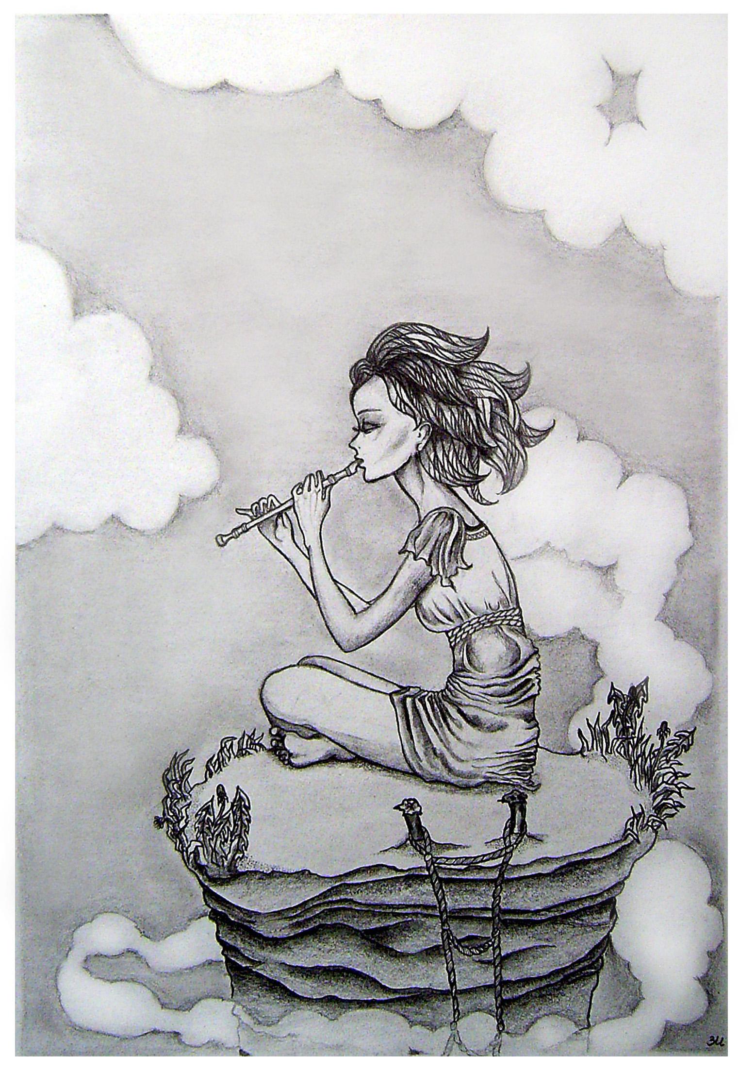 Рисунок одинокой девушки 6 фотография
