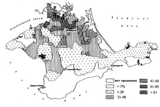 схема орошаемых земель Крыма