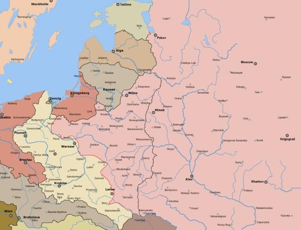 линия фронта в августе 1920 г.