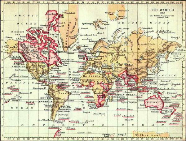 карта Британской империи в 1897 г.
