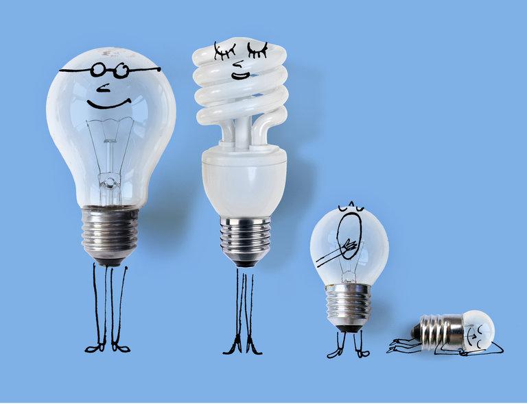 Для, рисунок смешной лампочки
