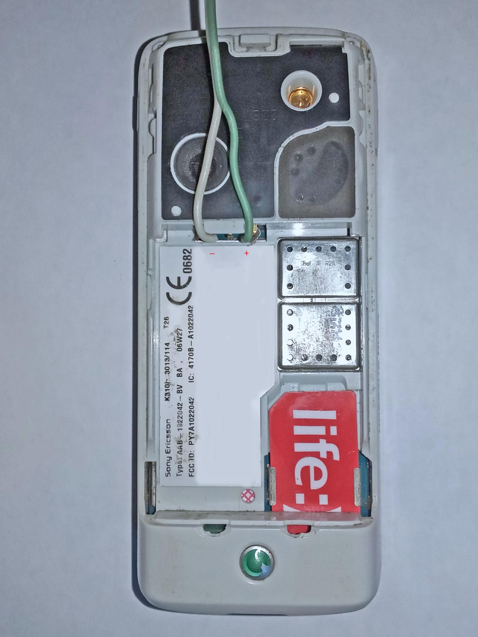 плата подключена к телефону Sony Ericsson K310i