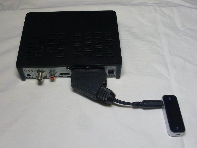 трансмиттер подключен самодельным переходником к тюнеру