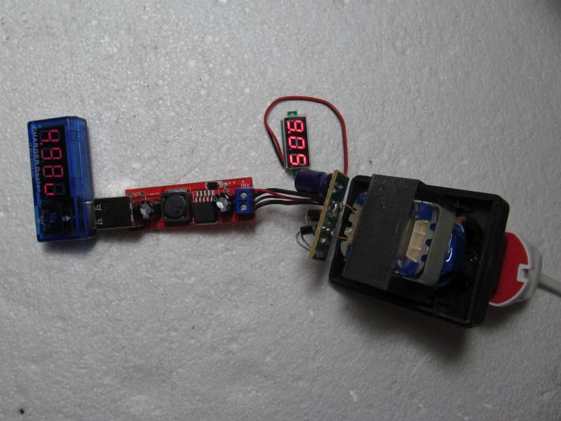 преобразователь подключен к трансформатору с диодным мостом и конденсатором