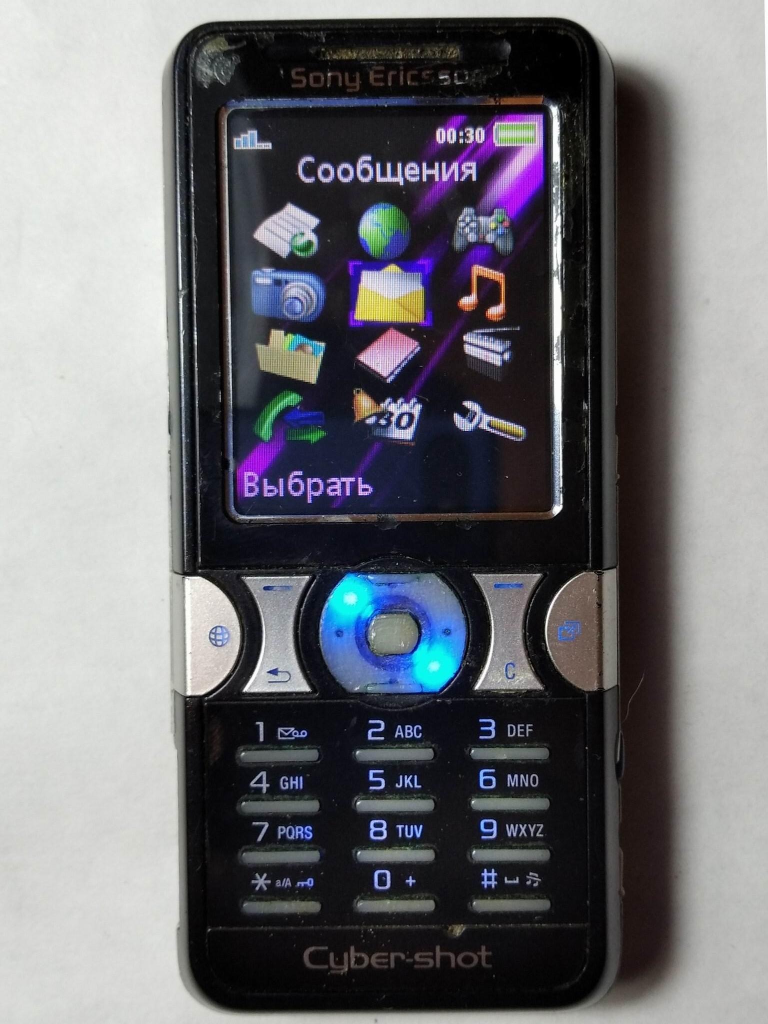 меню Sony Ericsson K550i