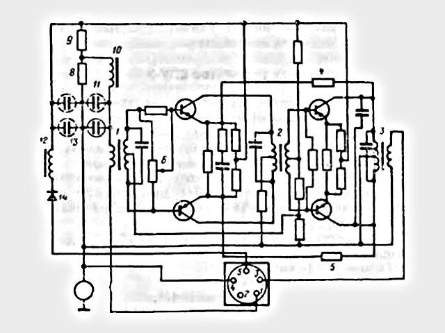 1  входной трансформатор; 2 переходной трансформатор; 3 выходной трансформатор; 4, 5. 6, 8, 9 резисторы; 10, 12 дроссели; 11, 13 конденсаторы; 14 диод
