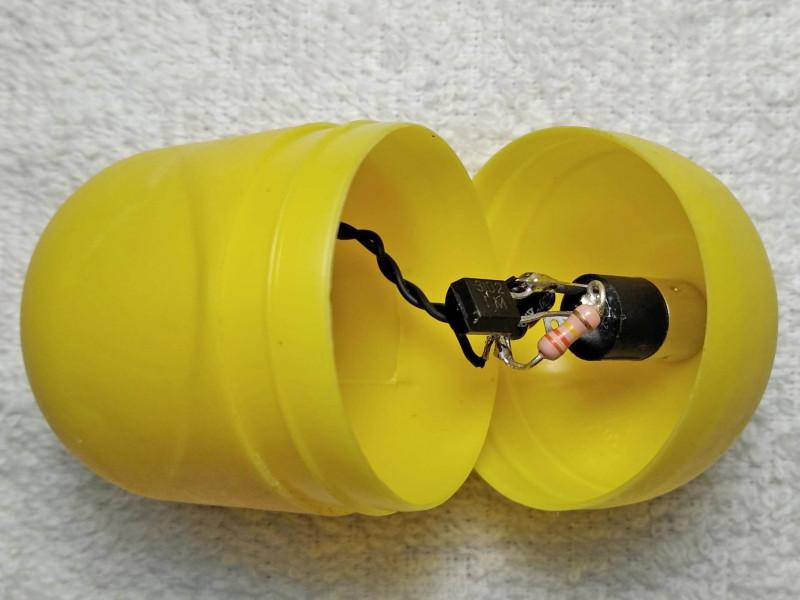 в корпусе из пластмассового яйца