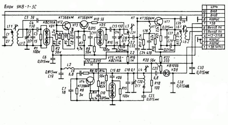 схема блока УКВ 1-03С