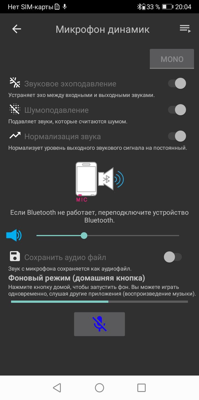 интерфейс приложения  Микрофон динамик