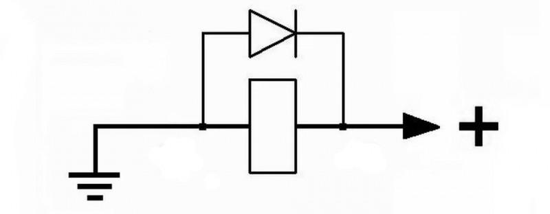 схема включения защитного диода с реле
