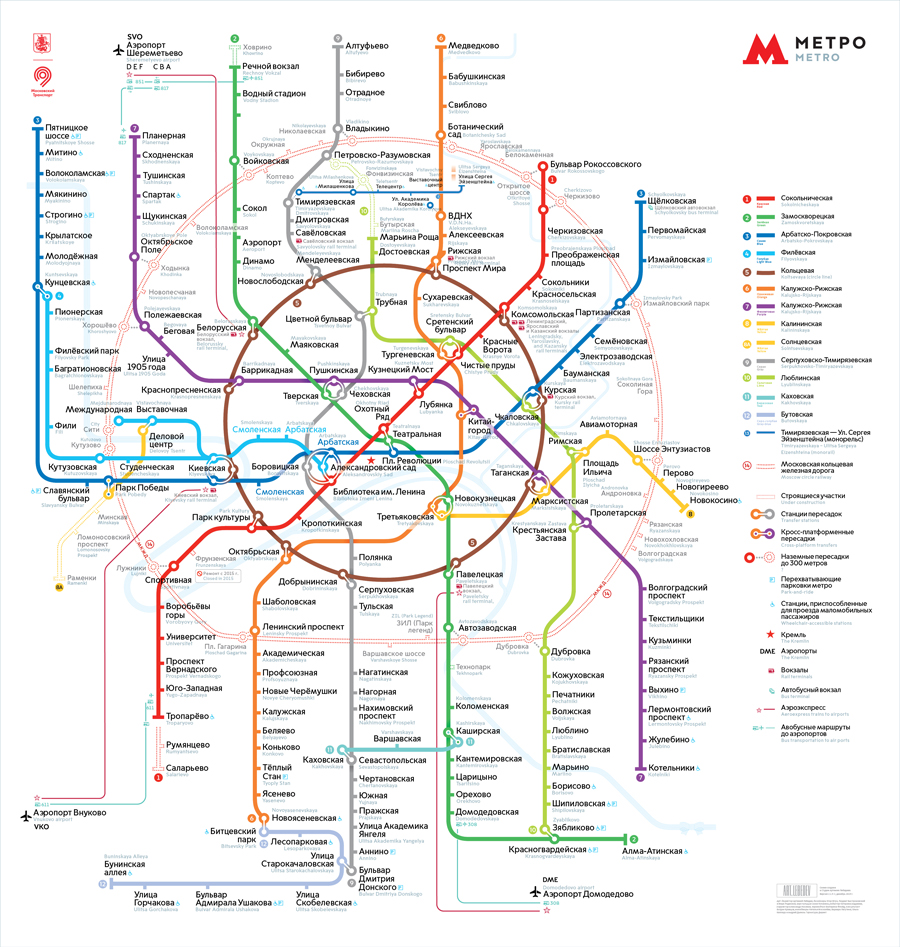 схема линий московского метрополитена с аэроэкспрессом