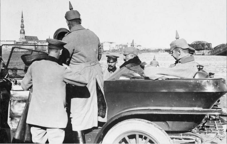 The Kaiser in his car in Riga, September 1917
