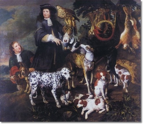 Jan Fyt - The Hunting Party - Early Dalmatian Spaniels and Greyhound