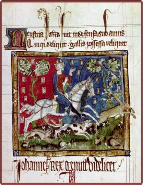 King John hunting a stag with hounds. Originally publishedproduced in England 14th century 1167-1216
