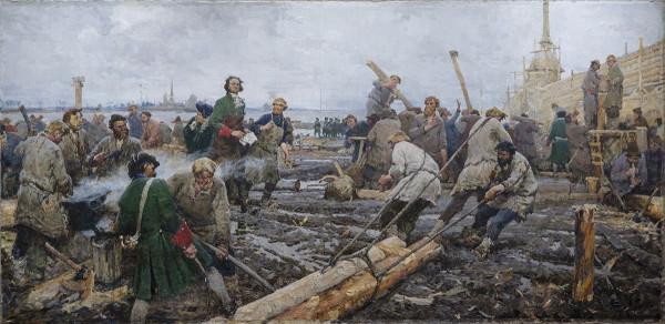 Г. А. Песис. Пётр I на строительстве Санкт-Петербурга. Холст, масло. 1953.