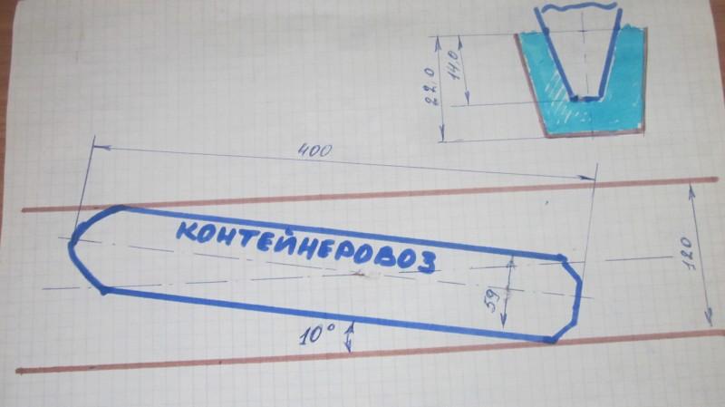 Схема застревания контейнеровоза
