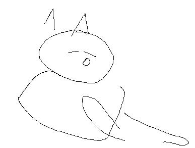 An abstract drawing of a cat