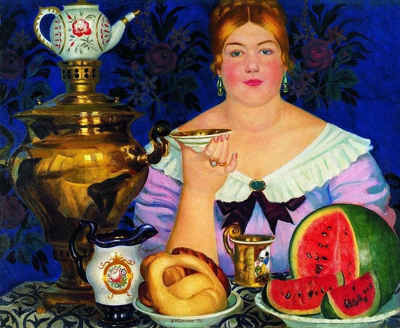 Муромский калач. Б. Кустодиев. Купчиха пьющая чай. 1923..jpg