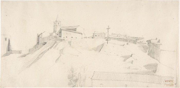 View of a Hill Town with a Crucifix 1