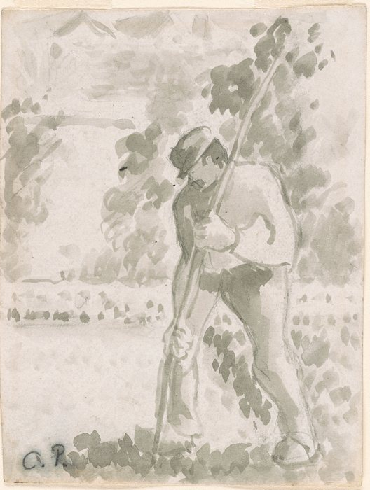 A Man working with a Bean Pole1