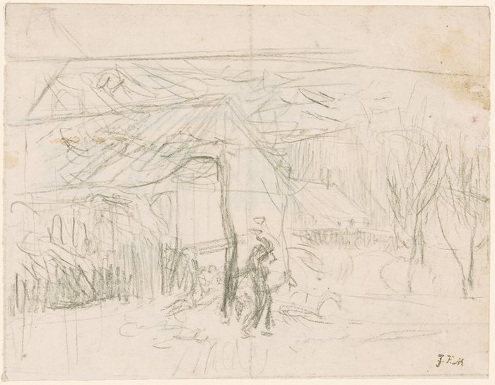 Sketch of Cottages with a Figure in Front.
