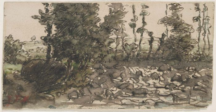 Trees along a rocky stream bed 66-67