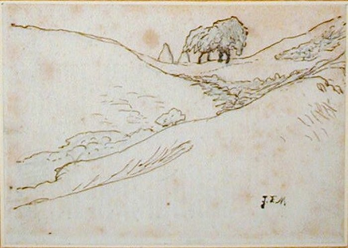 View of a Hollow with four Trees and two Haystacks, upper centre