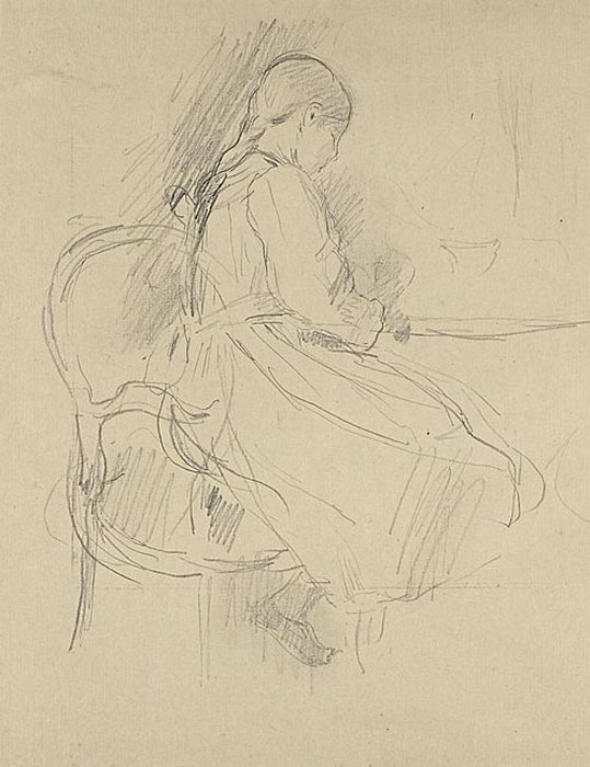 Young Girl Seated at a Table, n.d.