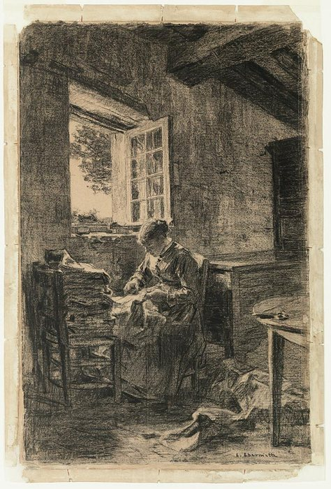 Woman Sewing by a Window charcoal on modern laid buff paper1