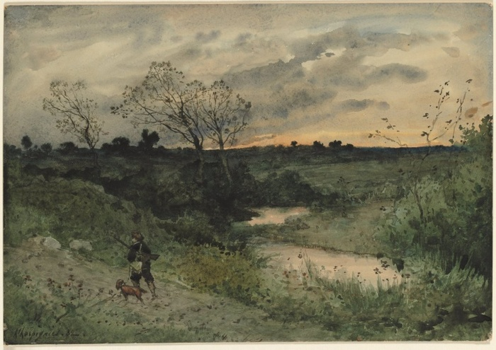 Dawn--Hunter with Dog, 18821