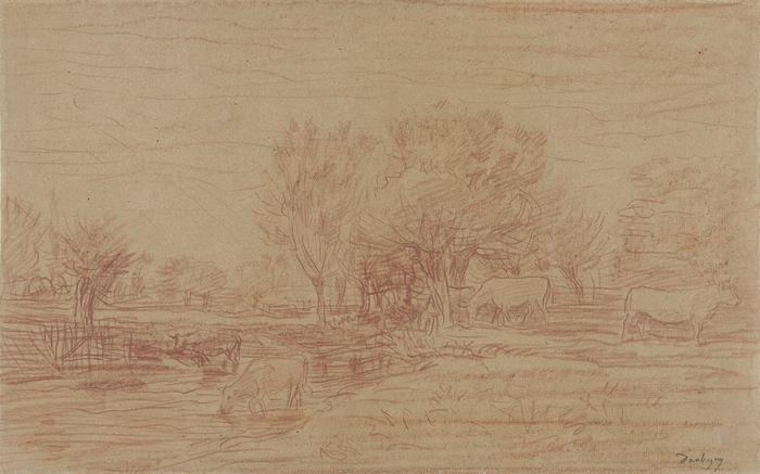 Landschap met grazende en drinkende koeien en een toekijkende stier 27-78
