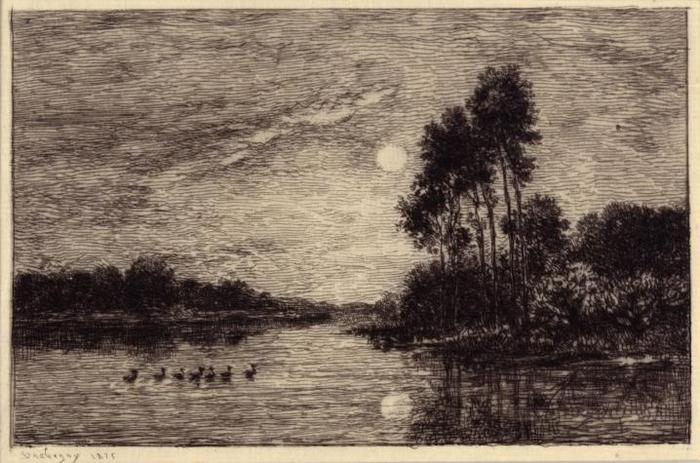 Lever de Lune (Sur Bords de l'Oise)