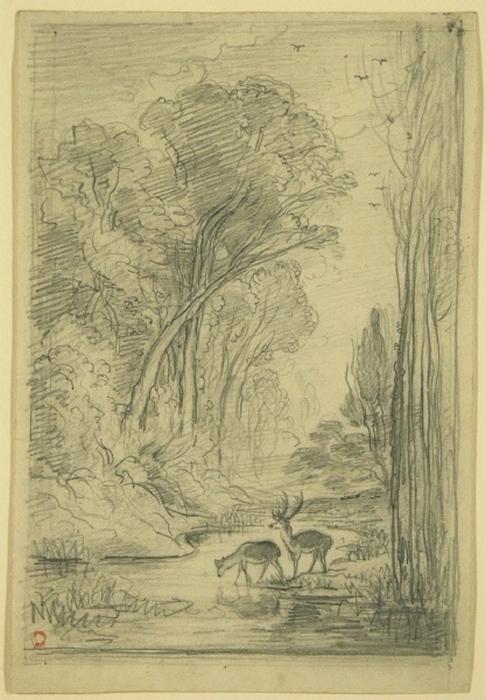 Waldbach mit Hirsch und Hirschkuh am Wasser