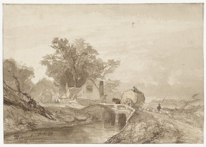 Landschap met een brug met daarop een hooiwagen, Johan Barthold Jongkind, 1843