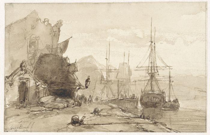 Havengezicht in het buitenland, 1841