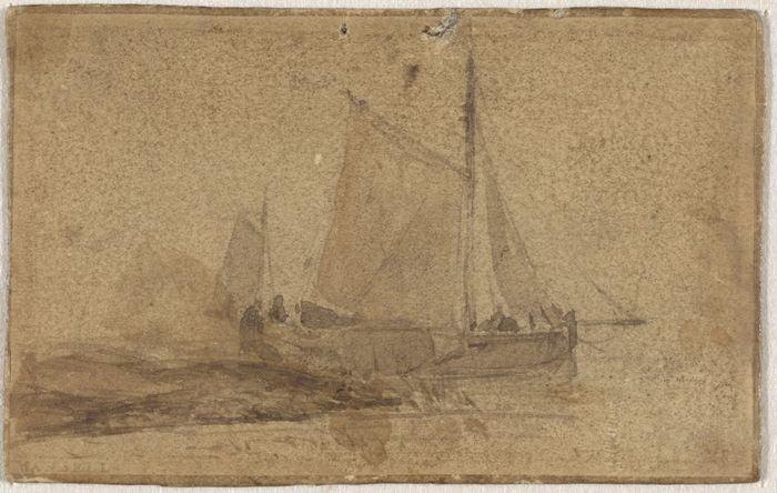 Vissersschuit gemeerd bij een landtong, 1829 - 1891