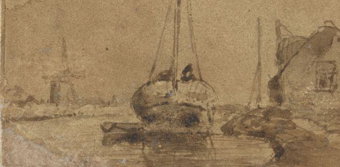 Vissersschuit in een vaart, van achteren gezien, 1829 - 1891