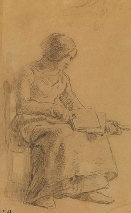 Study for Woman carding wool