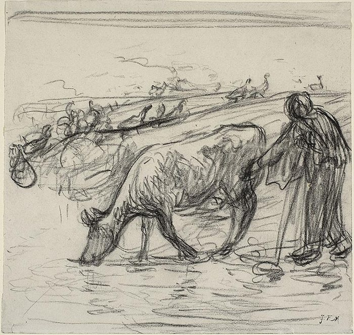 Peasant Watering Her Cow, 1871-18731