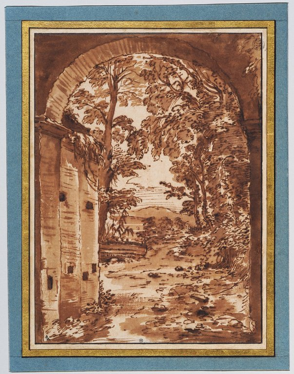 Ruines et paysage vus à travers un arc