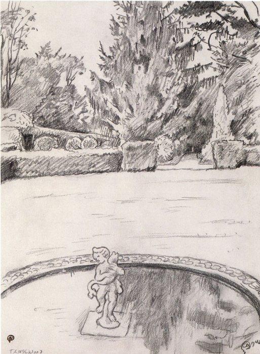 Эскиз к картине «Водоем в Тэнгль Вуде. США» 1940