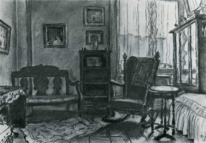 Комната в нью-йоркской квартире М. В. Добужинского. 1947