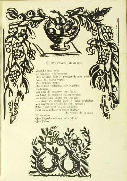 Illustration accompanying the poem Œufs Frais du Jour,