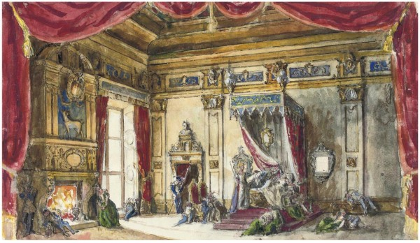 1Alexandre Benois (1870-1960).Set design for Sleeping Beauty- Act V, The bedchamber of Princess Aurora. Pencil, ink and watercolour on paper . 28.4 x 50 cm. 1953