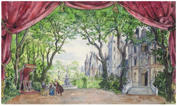 1Alexandre Benois (1870-1960).Set design for Sleeping Beauty- Act II, The King's gar. Pencil, ink and watercolour on paper. 30.2 x 48.9 cm. 1953