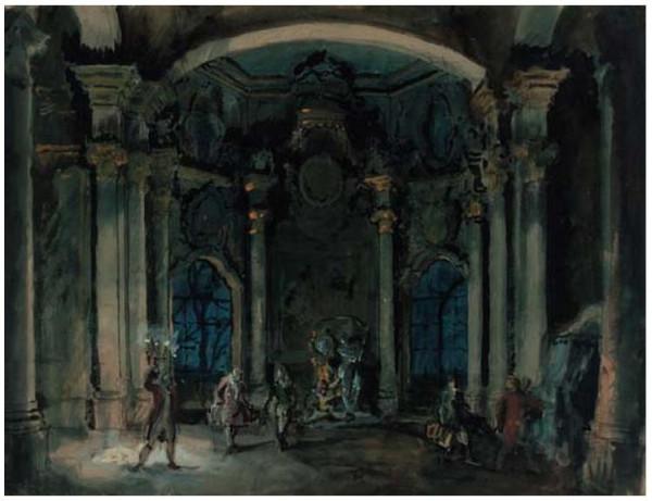 1Alexandre Benois (1870-1960). Stage Design for Le Pavillion d'Armide, Act I . Pencil, watercolour and gouache on paper  . 49.5 x 65cm. 1907