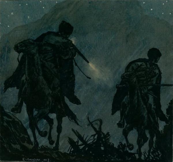 Выстрел. Иллюстрация к повести «Хаджи-Мурат». 1913 г.