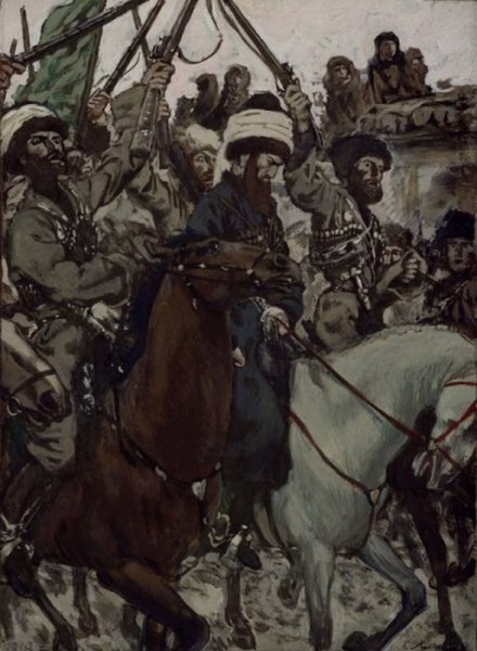 Суд Шамиля. Иллюстрация к повести «Хаджи-Мурат». 1913 г.
