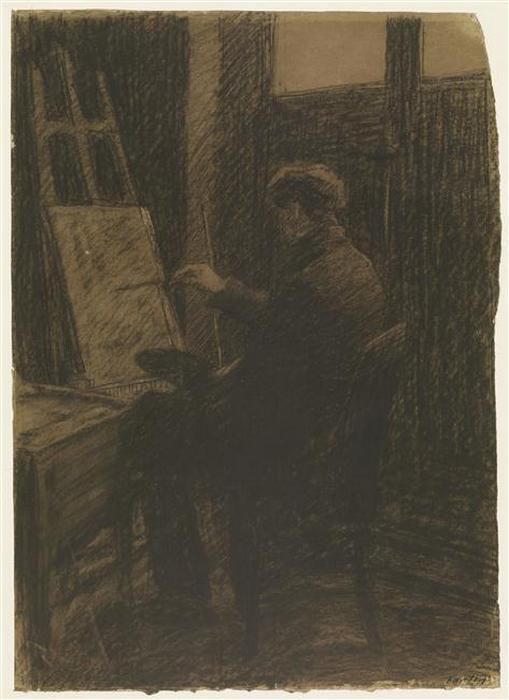 Artiste assis, peignant sur une toile